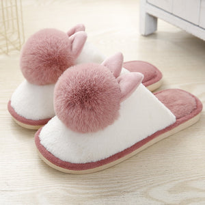 Women's slippers with fur Lovely Rabbit Plush