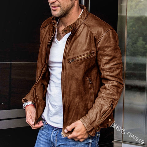 Motorcycle Slim Fit Leather Coat