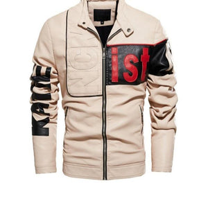 Casual Motor Spliced Leather Coat