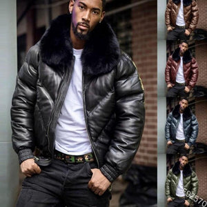 Men Zipper Fur Collar Leather Coat