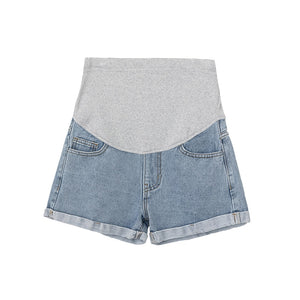 \Women Denim Shorts Curling Holes Pregnant Pants