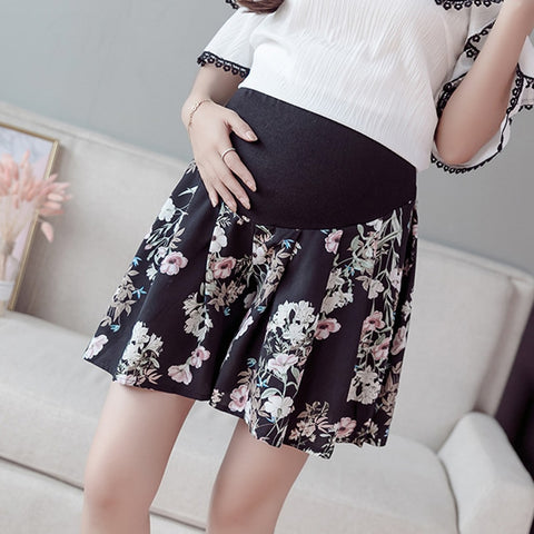 Pregnant Women's Belly Shorts Floral Pleated Summer High-waisted Pants