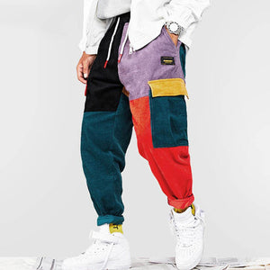 Corduroy Patchwork Hiphop Pants