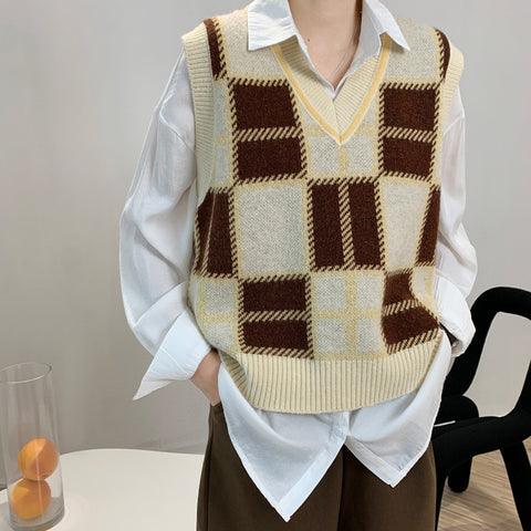 Vest Vintage Plaid Sweater