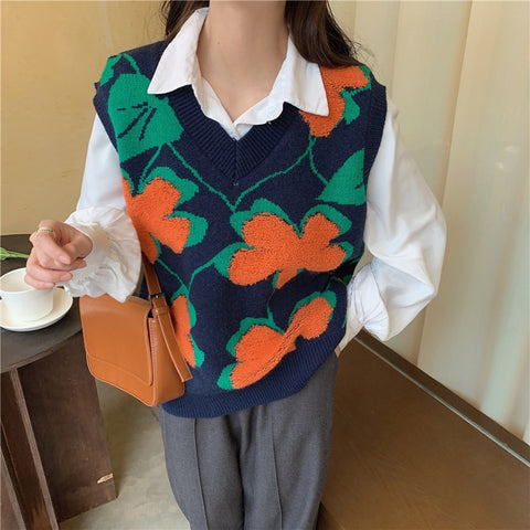 Retro Flower  knitted Sweater Vest