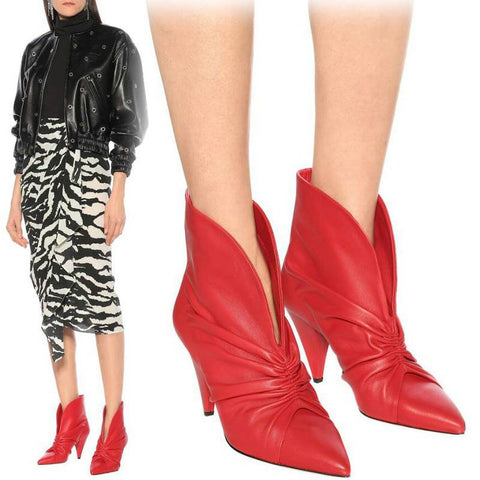 Pleated Boots Spike Heels
