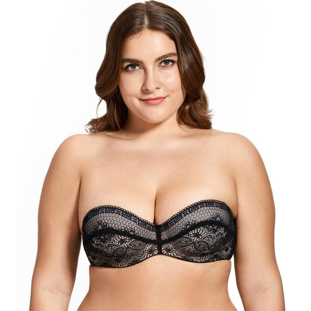 DELIMIRA Women's Slightly Padded Underwire Convertible Multiway Lace Strapless Bra