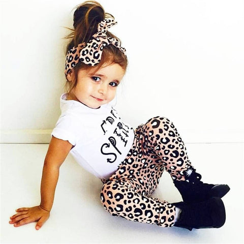 Cotton leopard baby clothing t-shirt+pants+headband