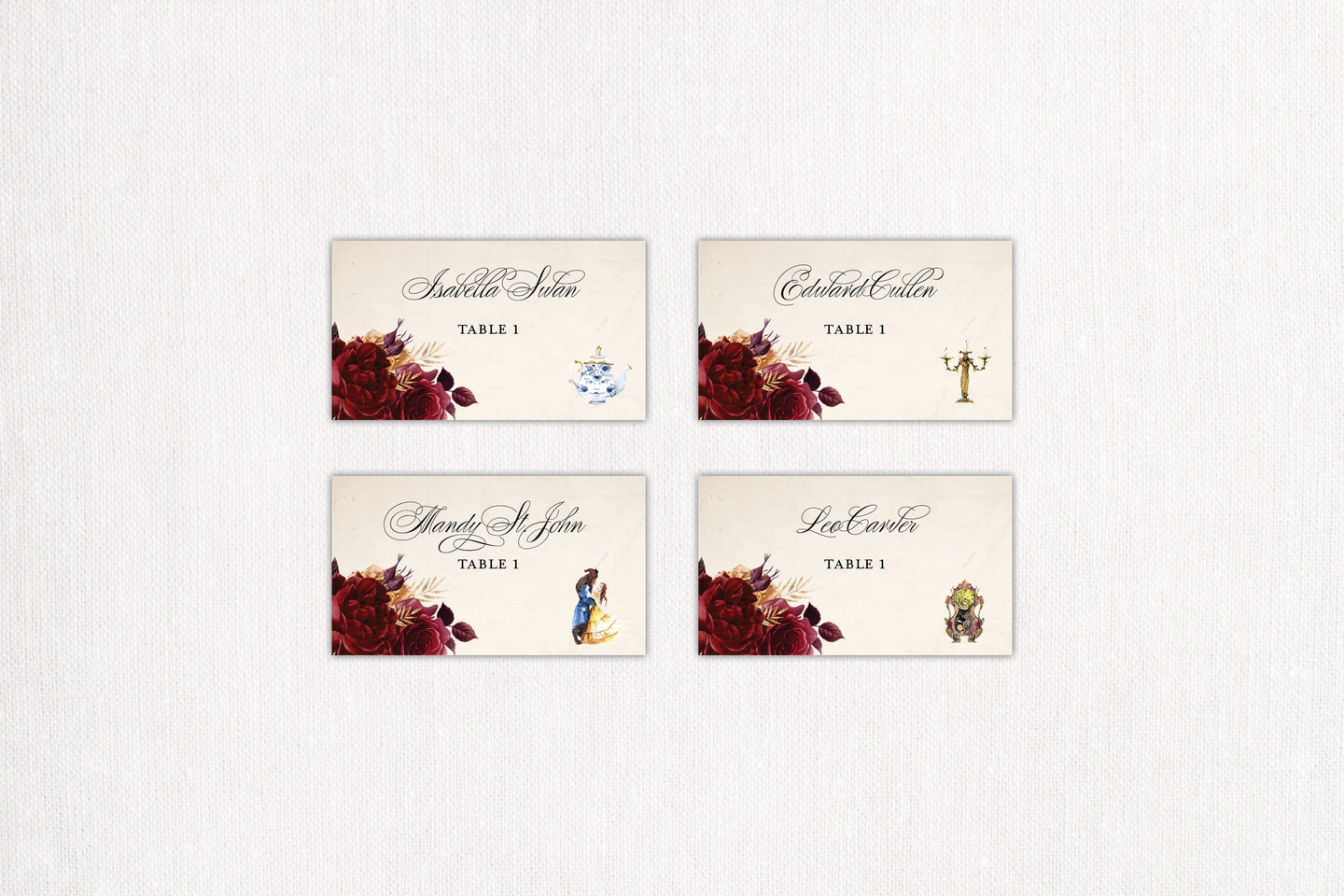 Elegant Roses Place/Escort Cards