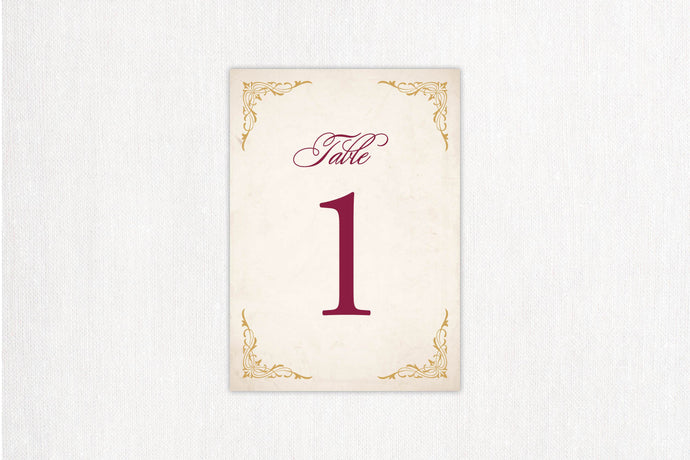 Elegant Border Table Number
