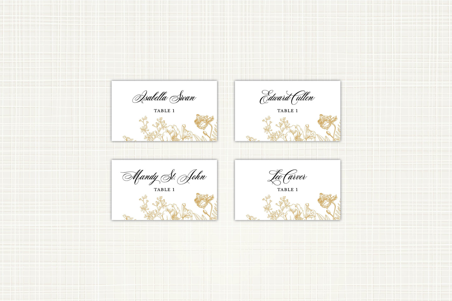 Gold Floral Place/Escort Card