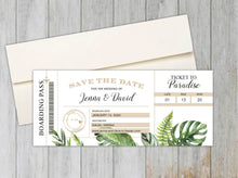 Load image into Gallery viewer, Tropical Leaf Boarding Pass Save the Date