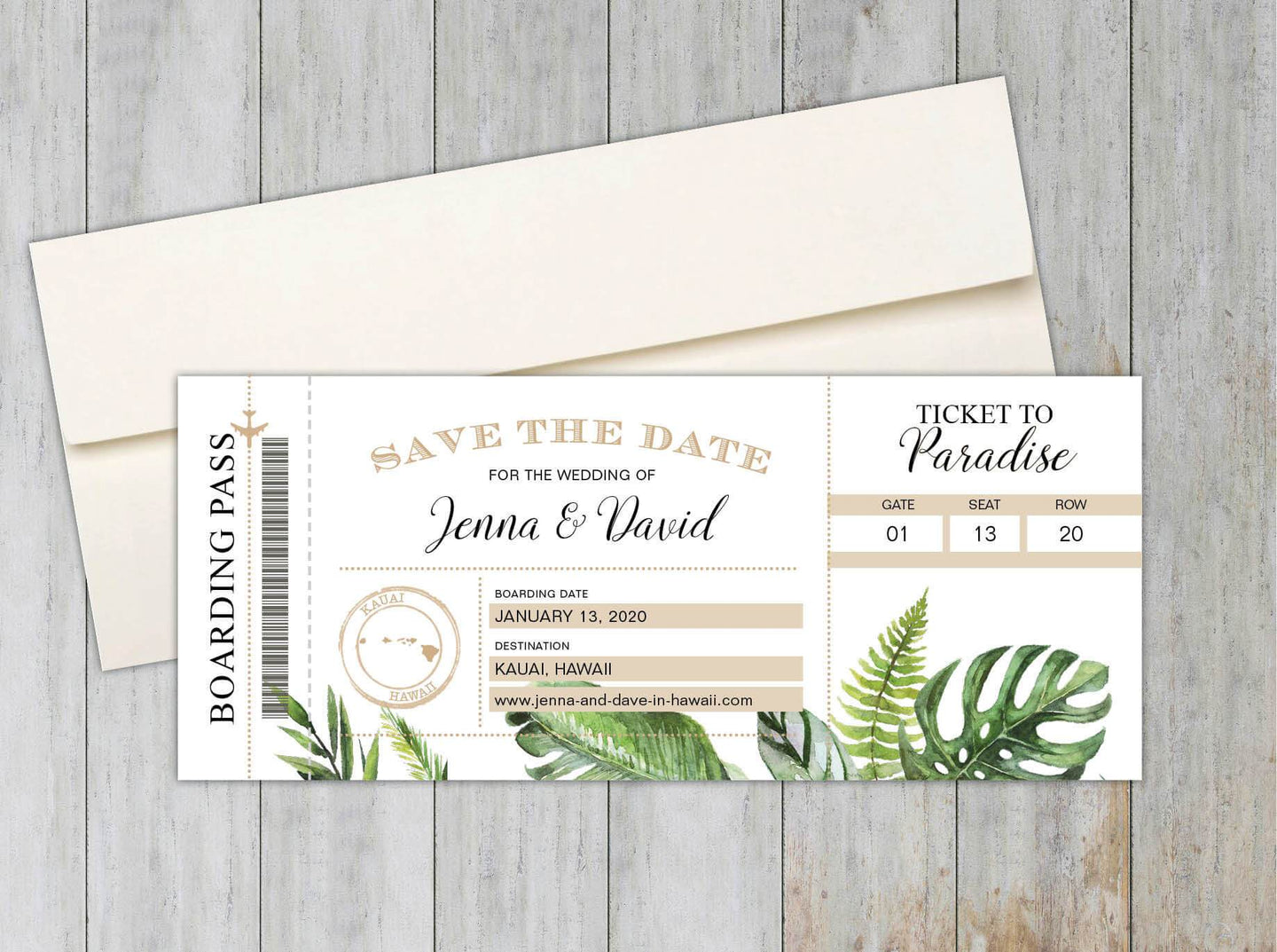 Tropical Leaf Boarding Pass Save the Date