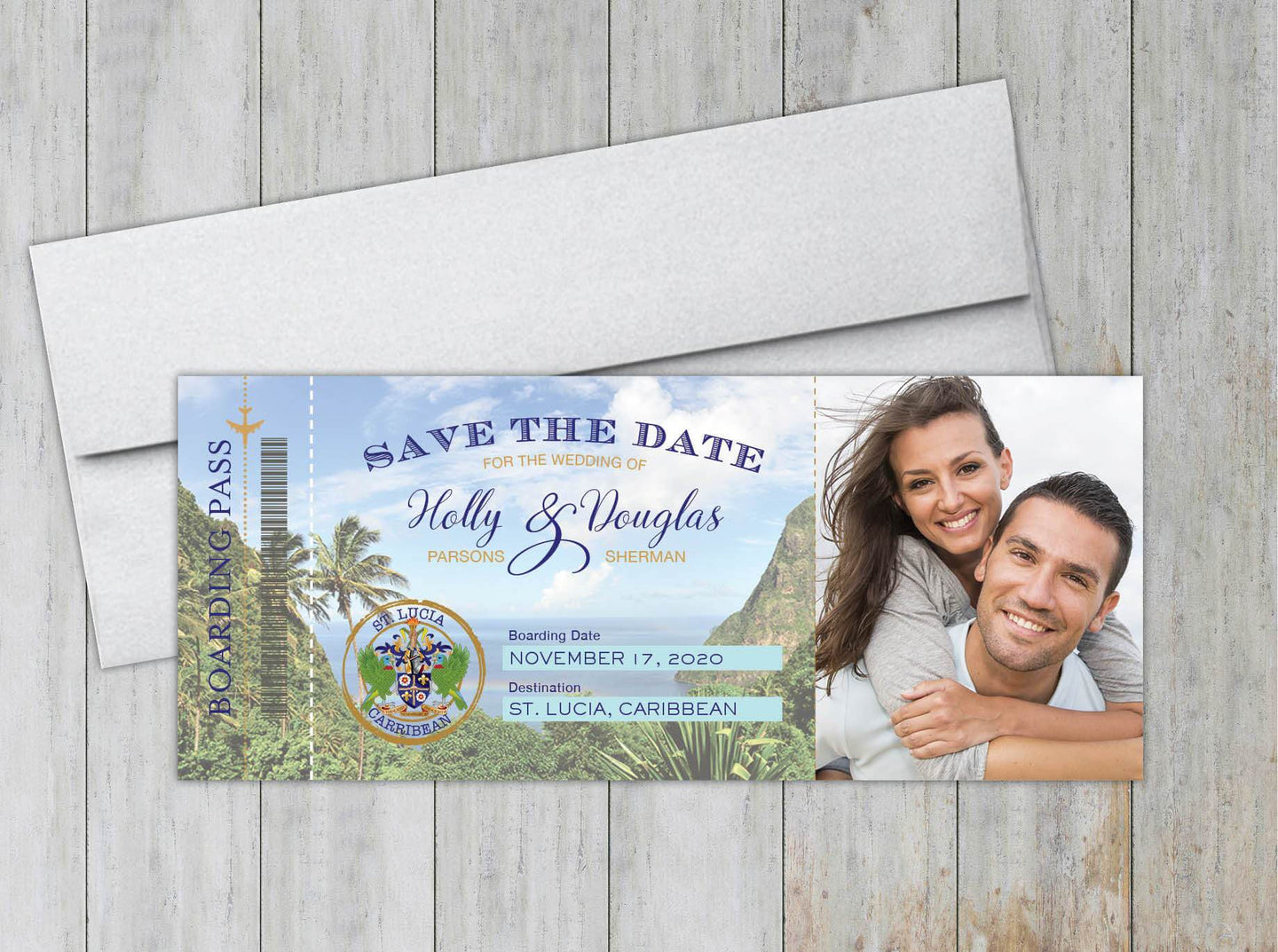 St. Lucia Boarding Pass Save the Date