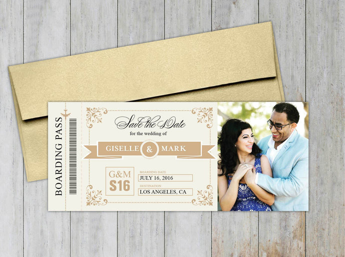 Vintage Boarding Pass Save the Date (Set of 20)