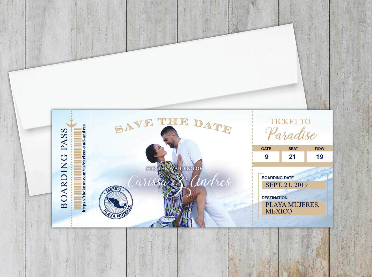Photo Boarding Pass Save the Date
