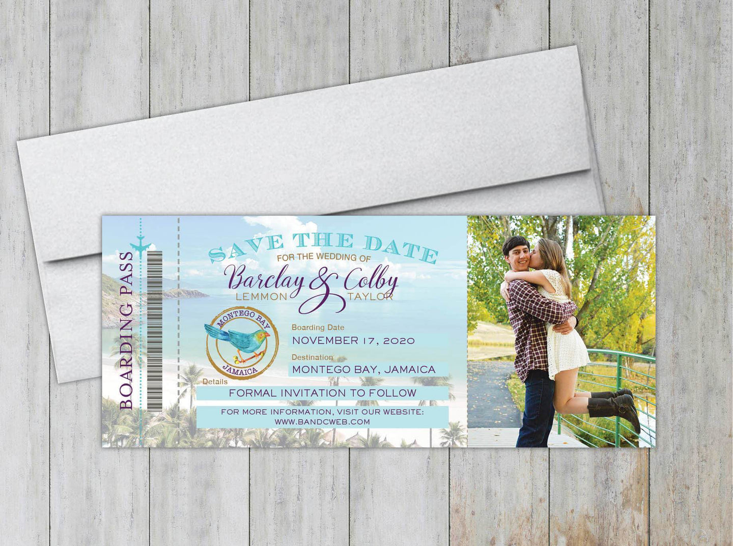 Jamaica Boarding Pass Save the Date