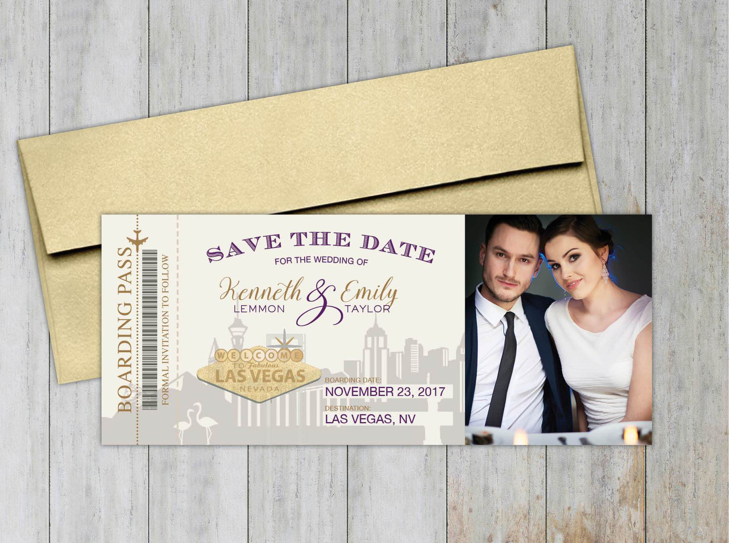 Las Vegas Boarding Pass Save the Date