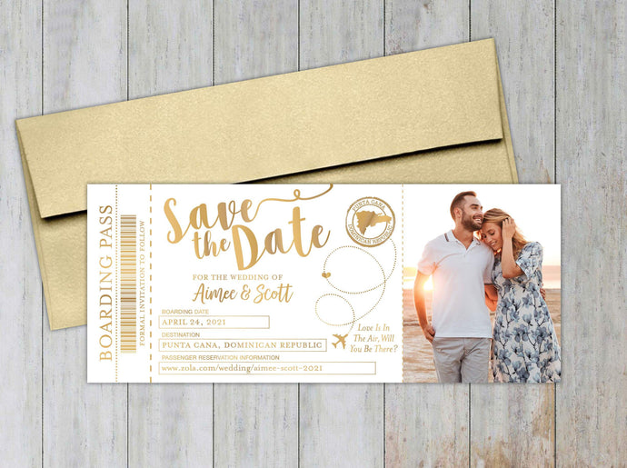 Boarding Pass Save the Date (Set of 20)