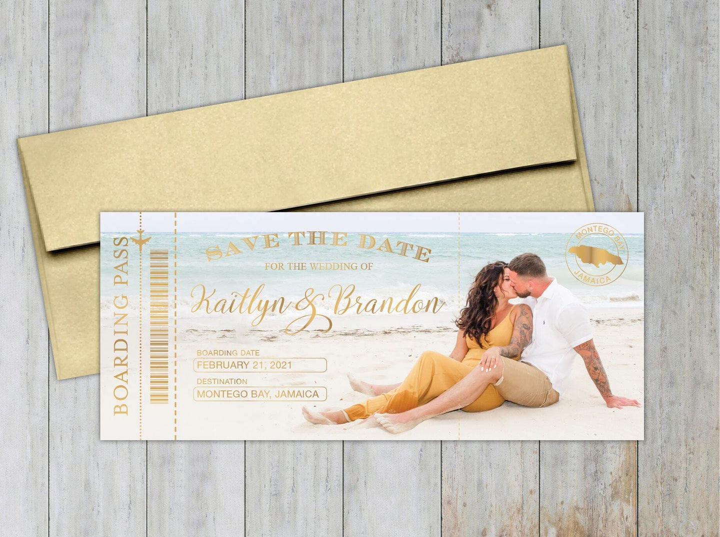 Full Photo Beach Boarding Pass Save the Date