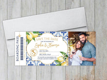 Load image into Gallery viewer, Lemons & Greenery Boarding Pass Save the Date