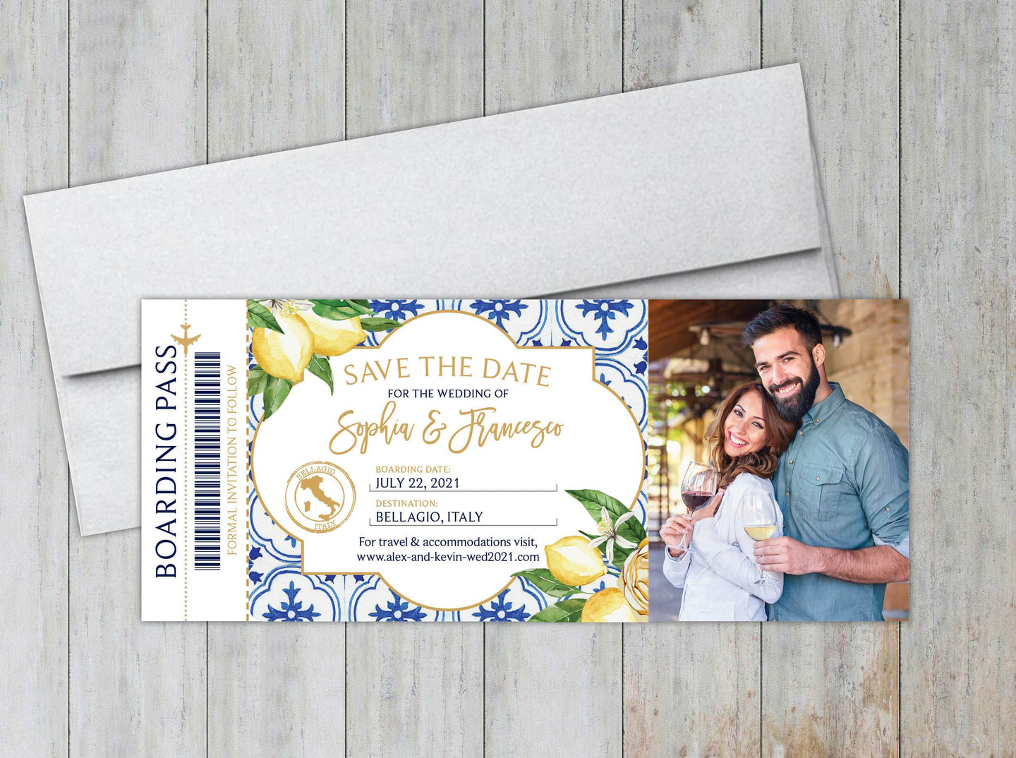 Lemons & Greenery Boarding Pass Save the Date