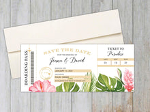 Load image into Gallery viewer, Tropical Florals Boarding Pass Save the Date
