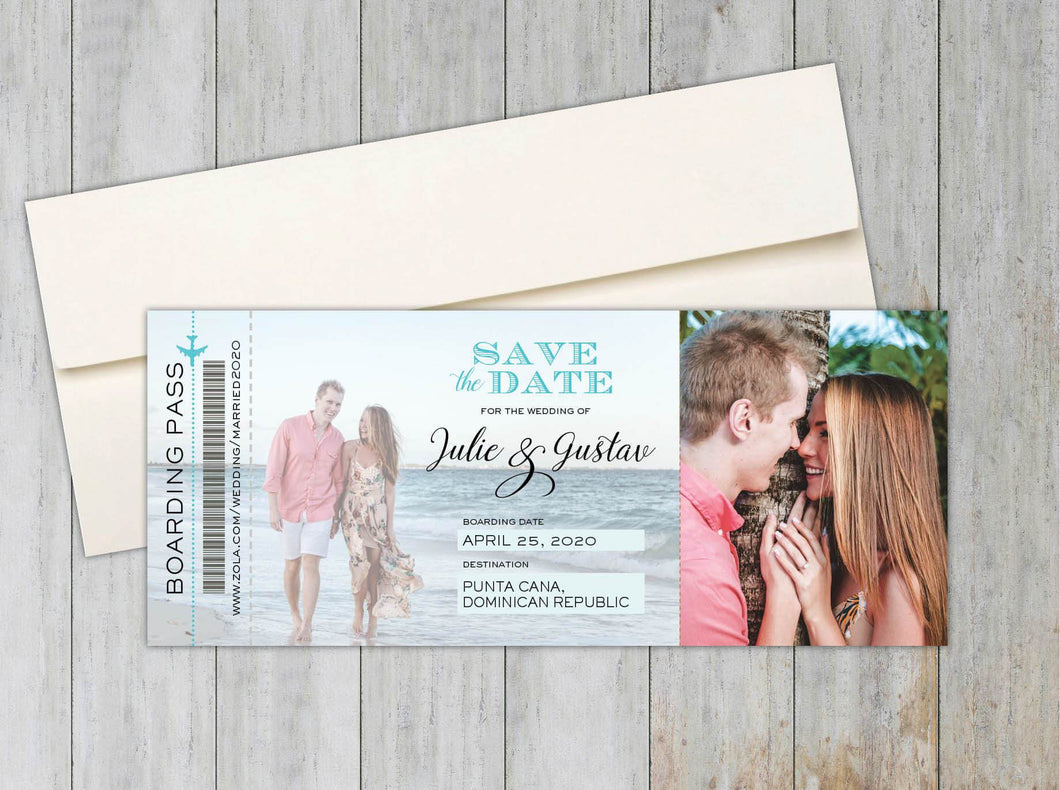 Beach Boarding Pass Save the Date (Set of 20)