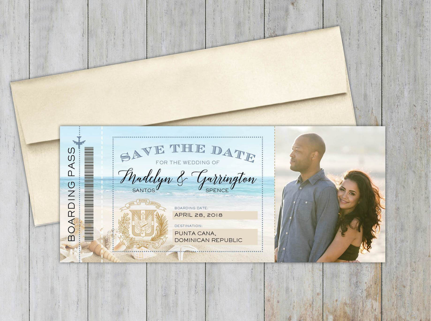 Beach Boarding Pass Save the Date