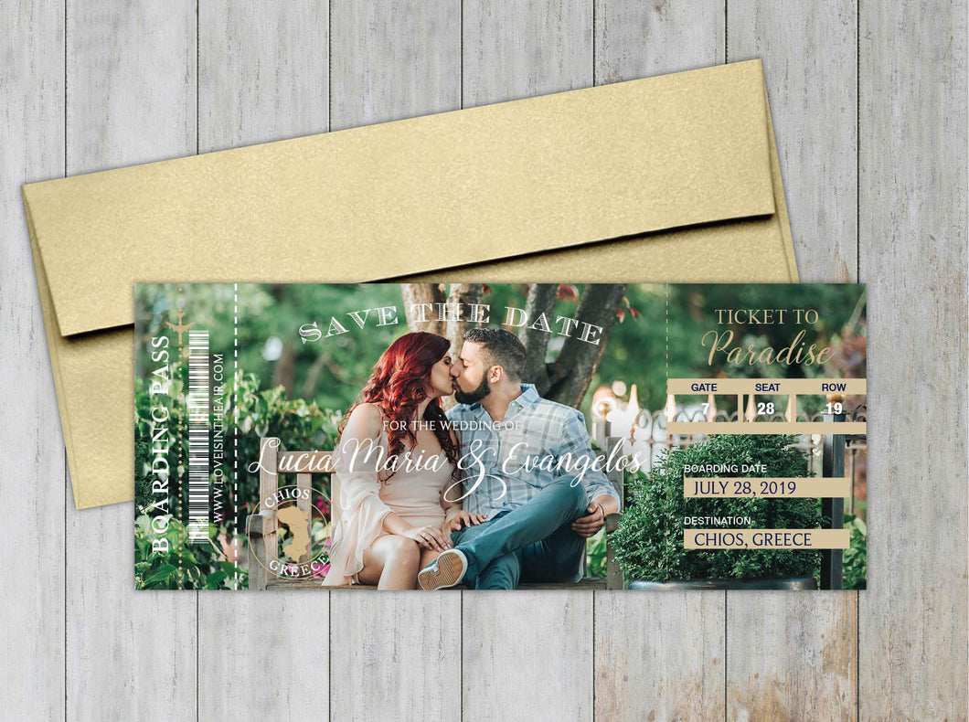 Hawaii Boarding Pass Save the Date (Set of 20)