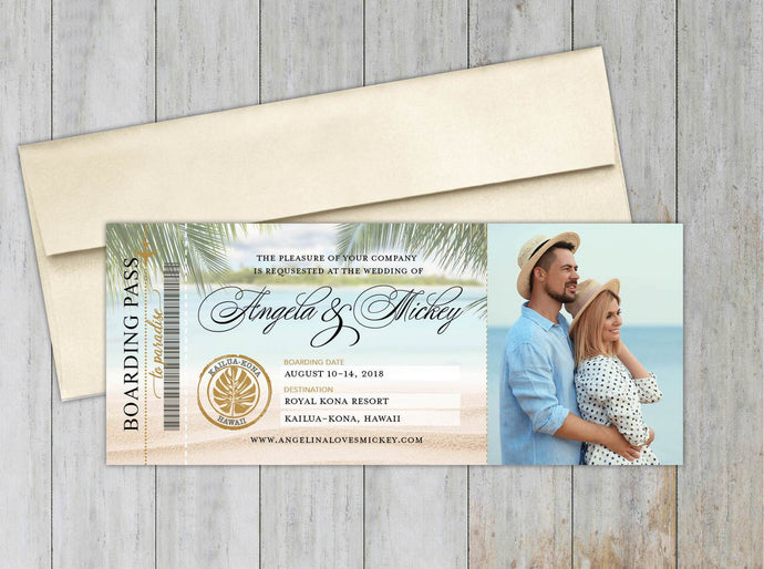 Hawaii Map Boarding Pass Save the Date (Set of 20)