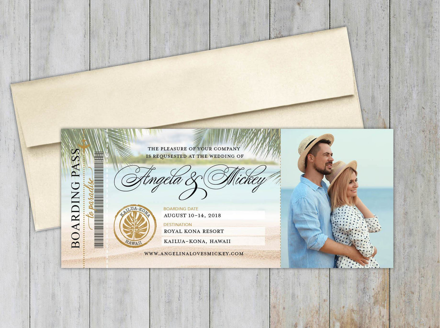 Hawaii Boarding Pass Save the Date