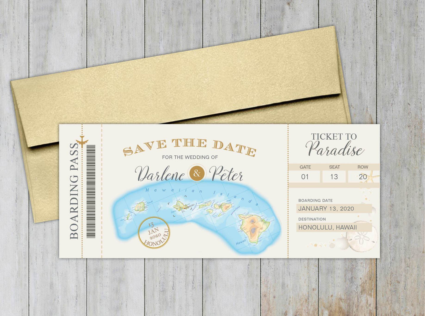 Hawaii Map Boarding Pass Save the Date