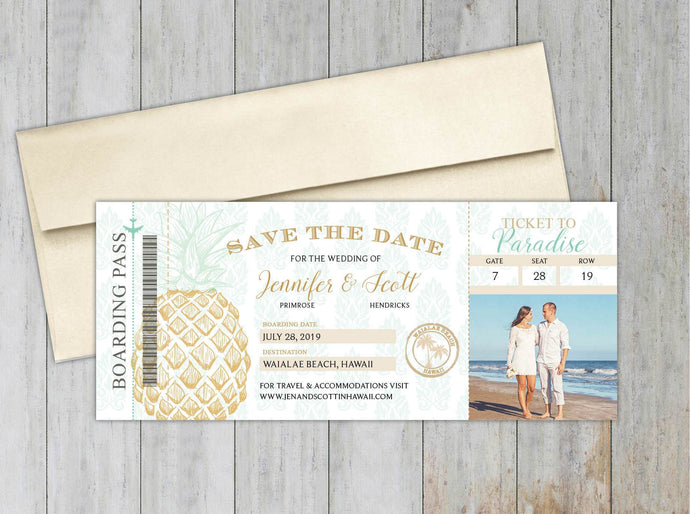 Pineapple Boarding Pass Save the Date (Set of 20)