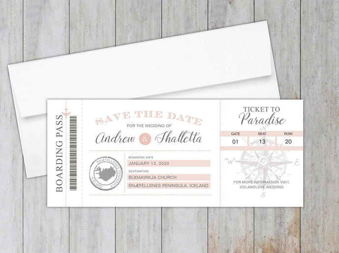 Compass Boarding Pass Save the Date (Set of 20)