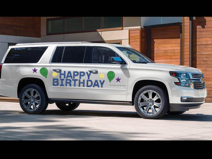 Happy Birthday Magnetic Car Sign (with happy faces)