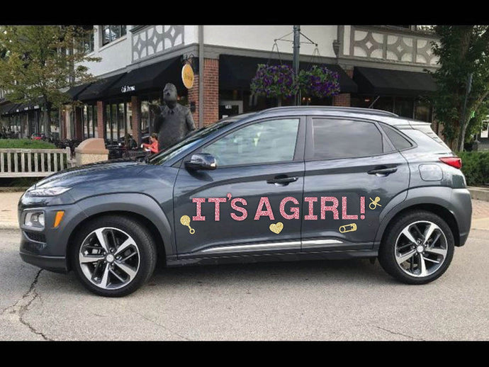 It's A Girl Magnetic Car Sign