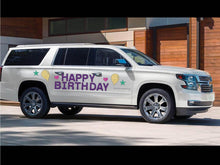 Load image into Gallery viewer, Happy Birthday Magnetic Car Sign (with hearts)