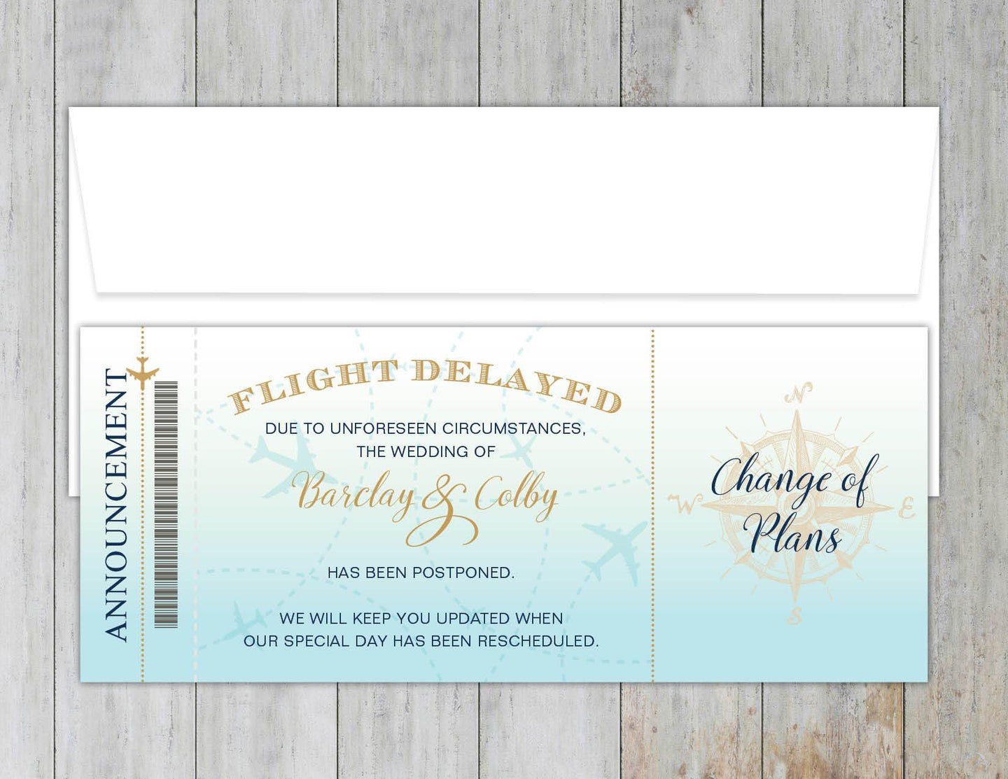 Flight Delay Notice Boarding Pass
