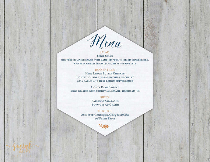 Hexagon Dinner Menu - Format A
