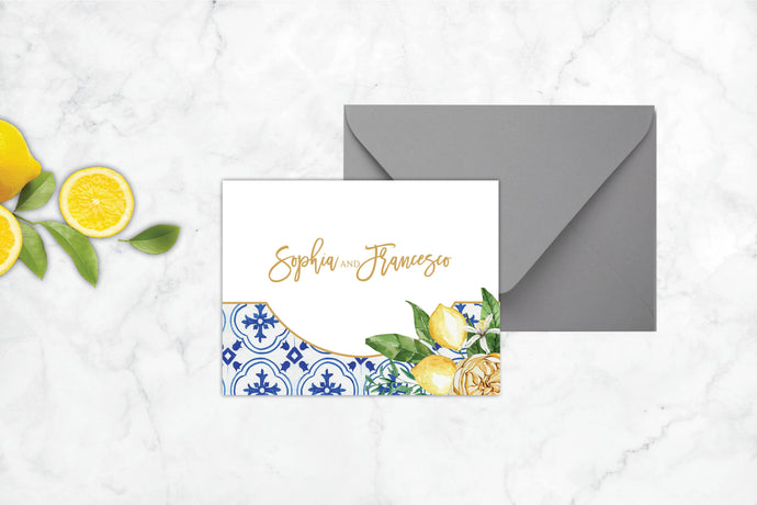 Mediterranean Summer Folded Thank You Card