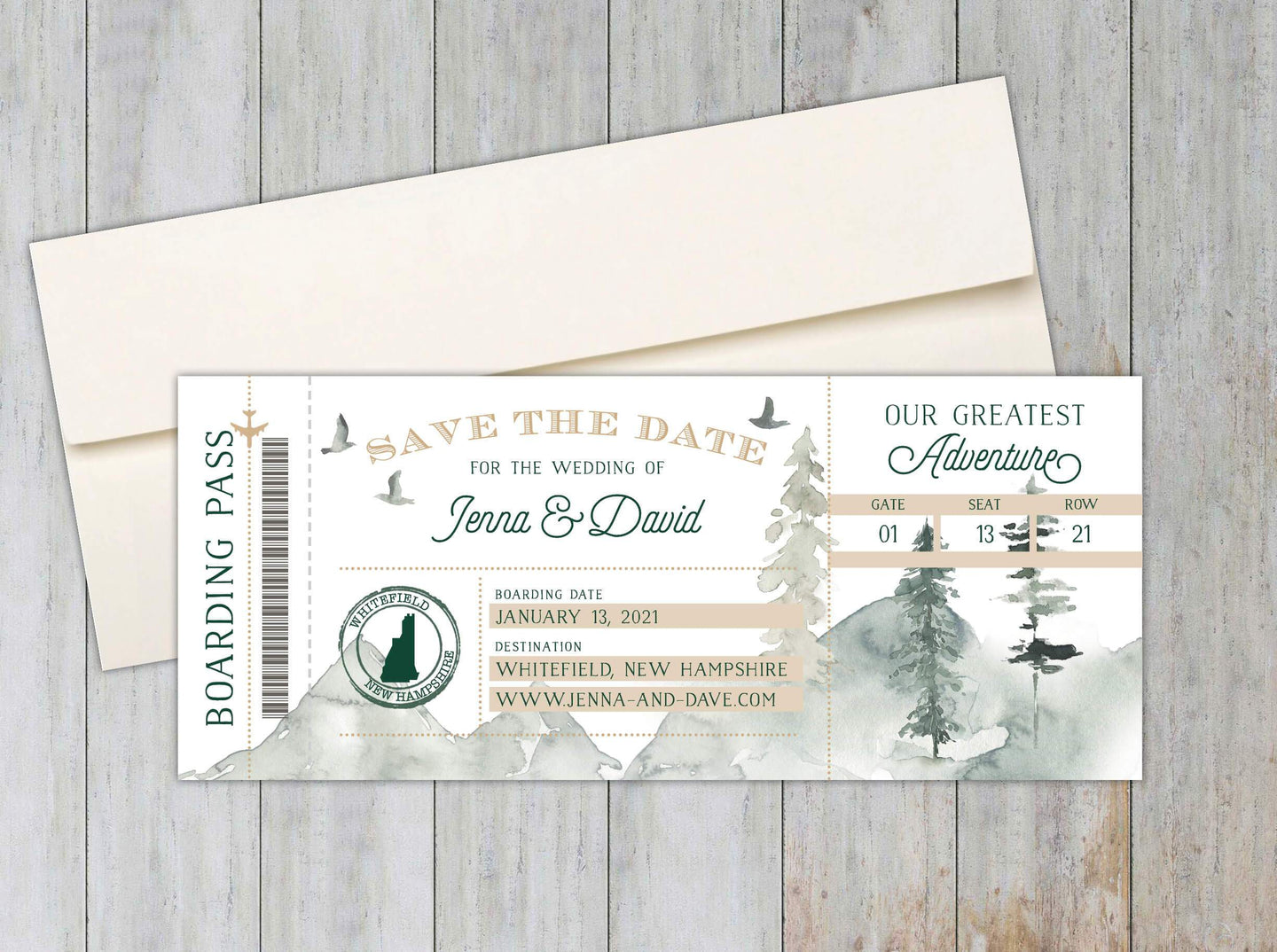 Rustic Boarding Pass Save the Date