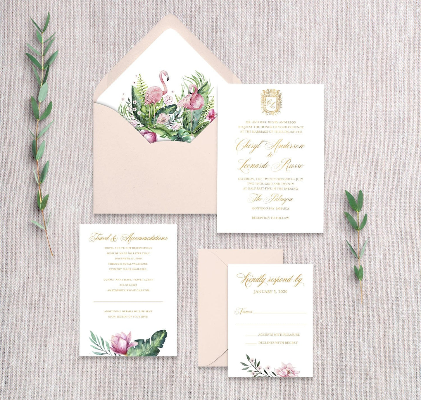 Royal Flamingo Invitation