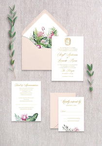 Royal Flamingo Invitation Card