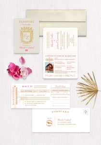 Royal Monogram Passport Invitation