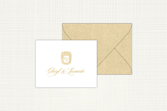 Royal Monogram Folded Thank You Card