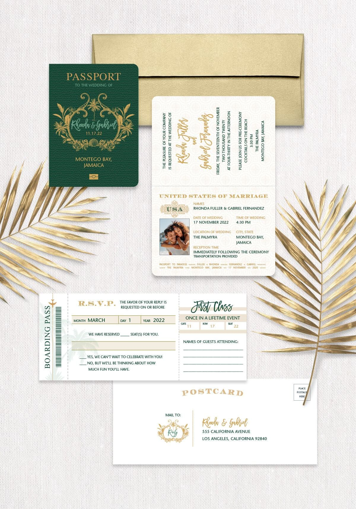 Tropical Monogram Passport Invitation