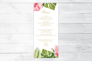 Tropical Floral Menu
