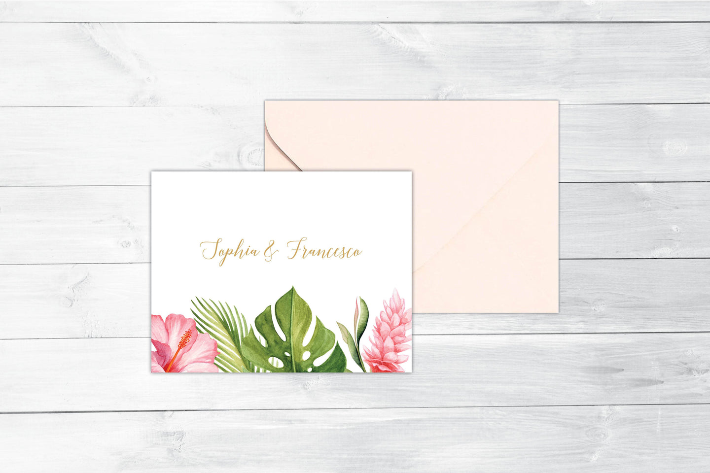 Tropical Florals Folded Thank You Card