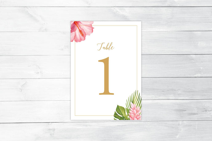 Tropical Florals Table Number